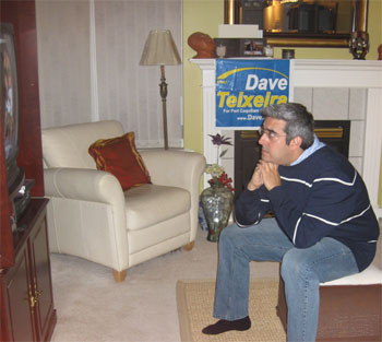 Dave watching the results on election night.